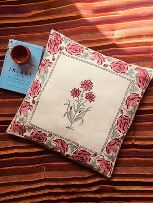 Fuschia Pink and Green Mehrunisa Hand Block Printed Premium Cotton Canvas Cushion Cover (Length - 15.5in, Width - 15.5in)
