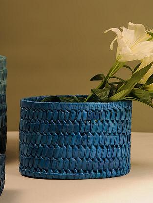 Palm Leaf Handcrafted Dark Blue Basket (L-9.5in, W-6.5in, H-6.5in)