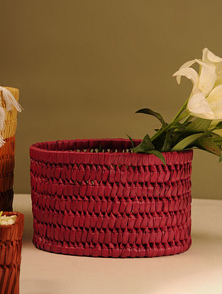 Palm Leaf Handcrafted Dark Red Basket (L-9.5in, W-6.2in, H-6.5in)