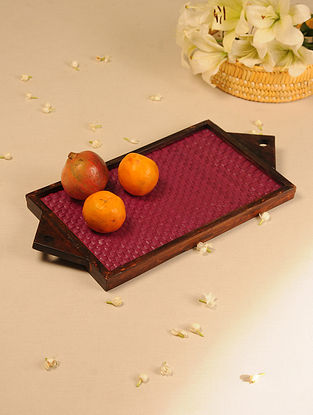 Palm Leaf Handcrafted Dark Red Flat Weave Tray (L-19.5in, W-9.2in)