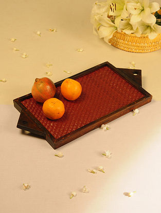 Palm Leaf Handcrafted Honey Flat Weave Tray (L-19.2in, W-9.2in)