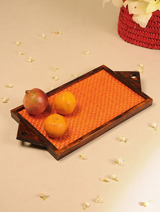 Palm Leaf Handcrafted Orange Flat Weave Tray (L-19.2in, W-9.2in)