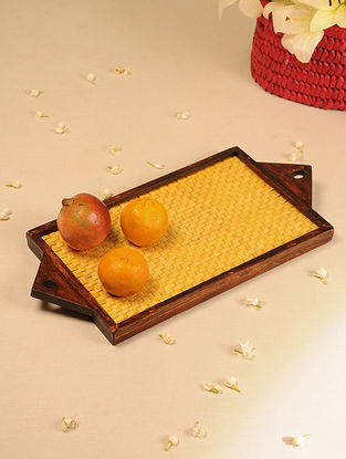 Palm Leaf Handcrafted Yellow Flat Weave Tray (L-19.2in, W-9.2in)