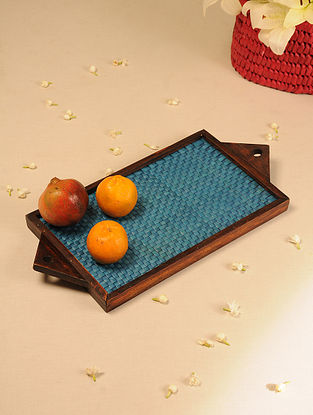Palm Leaf Handcrafted Medium Blue Flat Weave Tray (L-19.5in, W-9in)