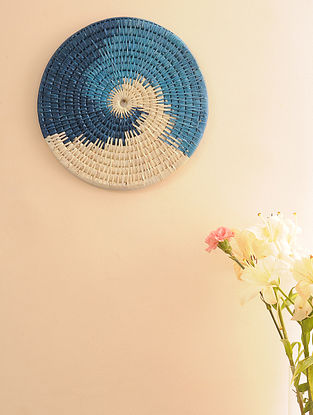 Palm Leaf Blue Combination Wall plate (Dia - 14in)