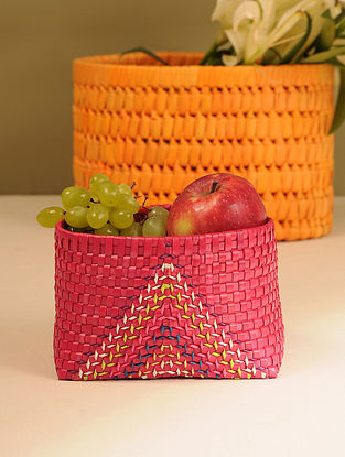 Palm Leaf Handcrafted Dark Red Basket (L-6.5in, W-5in, H-4.2in)