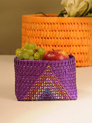 Palm Leaf Handcrafted Purple Basket (L-6.2in, W-4.5in, H-4in)