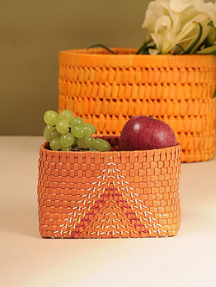 Palm Leaf Handcrafted Orange Basket (L-6.5in, W-4in, H-4in)