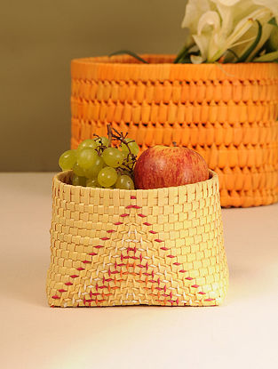 Palm Leaf Handcrafted Yellow Basket (L-6in, W-4.5in, H-4in)