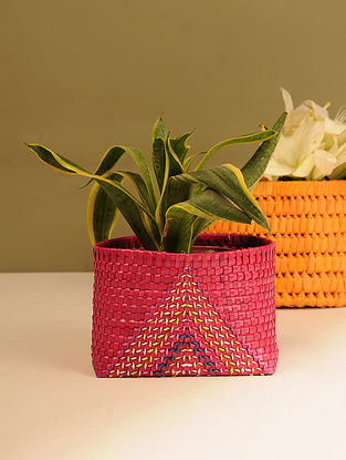 Palm Leaf Handcrafted Dark Red Basket (L-7in, W-5.5in, H-5in)