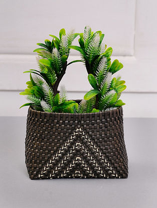 Palm Leaf Handcrafted Black Basket (L-7in, W-6in, H-5in)