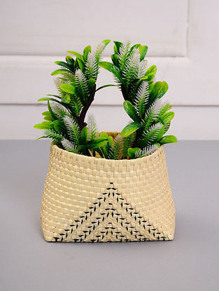 Palm Leaf Handcrafted Natural Basket (L-7in, W-5.5in, H-5in)