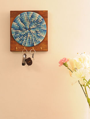 Palm Leaf Handcrafted Tribal Blue Key Holder (L-9.5in, W-8.6in)