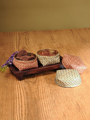 Palm Leaf Earth Combination Coffee Table Serving set with Wooden Tray (Set of 3)