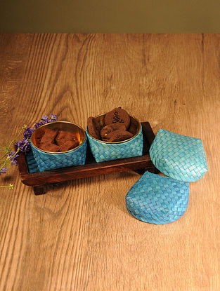 Palm Leaf Indian sky Combination Coffee Table Serving set with Wooden Tray (Set of 3)
