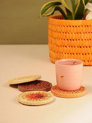 Palm Leaf Sunset Combination Tea Coasters (Set of 4) (Dia - 4in)