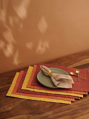 Palm Leaf Handcrafted Sunset Combination Place mat Set of 6 (L-17.5in, W-12in)