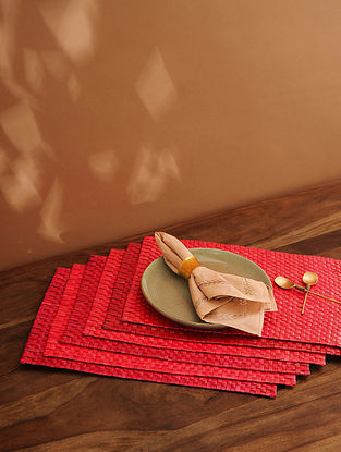 Palm Leaf Handcrafted Red Place mat Set of 6 (L-17.5in, W-12in)
