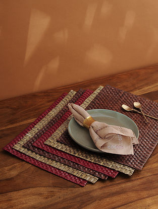 Palm Leaf Handcrafted Dark Brown Place mat Set of 6 (L-17.5in, W-12in)
