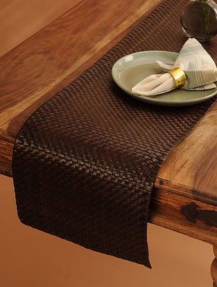Palm Leaf Handcrafted Brown Runner (L-62in, W-12in)