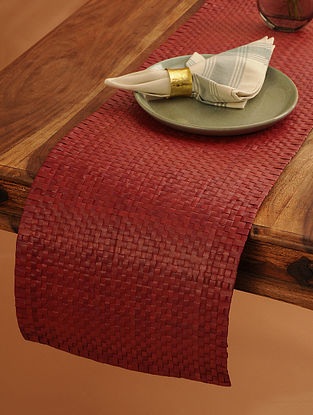 Palm Leaf Handcrafted Dark Red Runner (L-62in, W-12in)
