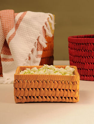 Palm Leaf Handcrafted Orange Square Gift box (L-7.2in, W-7.2in, H-3.2in)