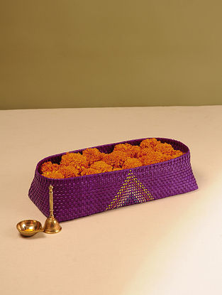 Palm Leaf Handcrafted Purple Pooja Flower Basket (L-16in, W-6.5in, H-3.5in)