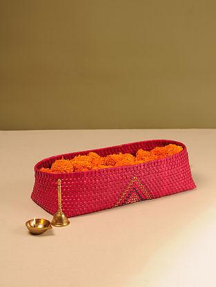 Palm Leaf Handcrafted Medium Red Pooja Flower Basket (L-15.5in, W-6.5in, H-3.5in)