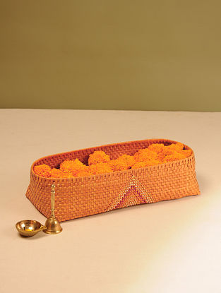 Palm Leaf Handcrafted Orange Pooja Flower Basket (L-16.5in, W-7in, H-4in)