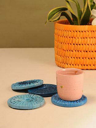 Palm Leaf Indian Sky Combination Tea Coasters (Set of 4) (Dia - 4in)