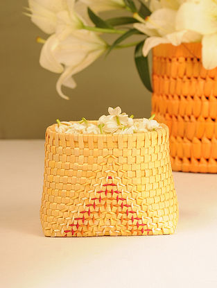 Palm Leaf Handcrafted Yellow Basket (L-5.2in, W-4in, H-4in)