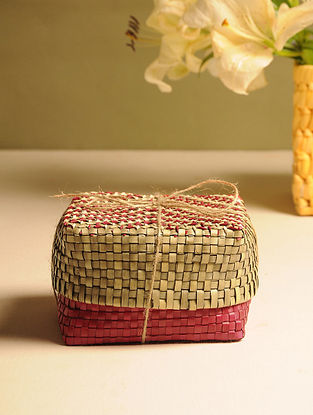 Palm Leaf Red and Natural Gift Box (L - 5.5in, W - 5.5in, H - 3.2in)