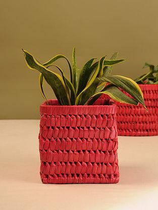 Palm Leaf Red Square Planter Box (L - 6in, W - 6in, H - 6in)