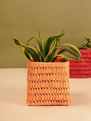 Palm Leaf Orange Square Planter Box (L - 6.5in, W - 6.5in, H - 6in)