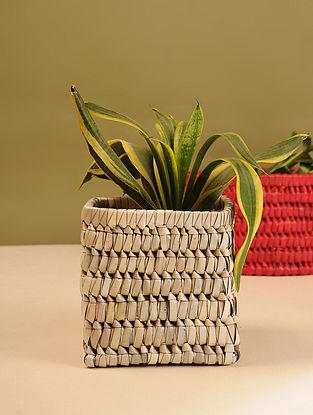 Palm Leaf Wood Square Planter Box  (L - 6in, W - 6in, H - 5.6in)