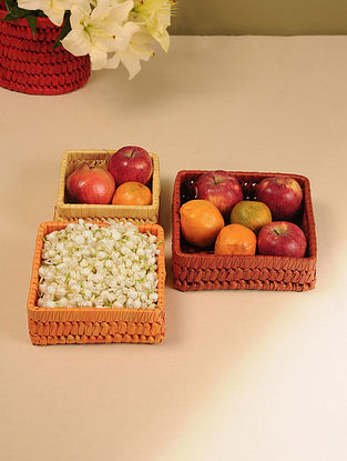 Palm Leaf Handcrafted Sunset Combination Square Baskets (Set of 3)