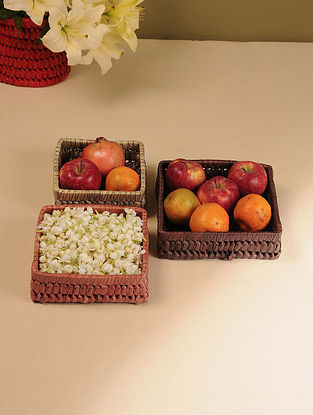 Palm Leaf Handcrafted Earth Combination Square Baskets (Set of 3)