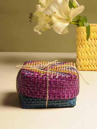 Palm Leaf Purple and Blue Gift Box (L - 5.5in, W - 5.5in, H - 3.5in)