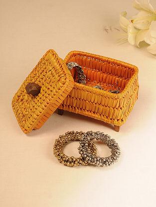 Palm Leaf Orange Jewellery Box (L - 6.2in, W - 4.2in, H - 5in)