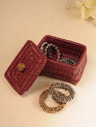 Palm Leaf Dark Red Jewellery Box (L - 6.7in, W - 4.5in, H - 5.5in)