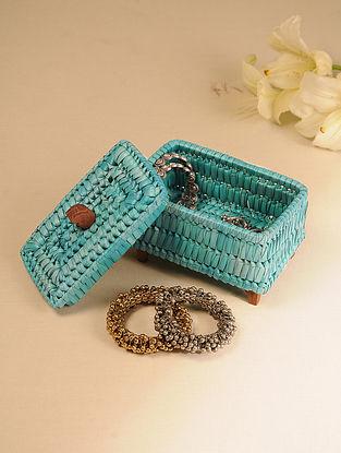 Palm Leaf Light Blue Jewellery Box (L - 7in, W - 4.5in, H - 5.5in)