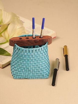 Palm Leaf Light Blue Pen Holder (L - 4in, W - 3in, H - 4.5in)