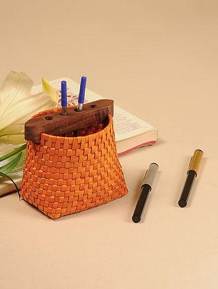 Palm Leaf Orange Pen Holder (L - 4in, W - 3in, H - 4.5in)