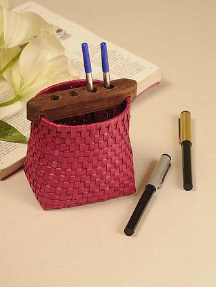 Palm Leaf Dark Red Pen Holder (L - 4.5in, W - 3in, H - 4.5in)