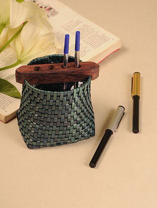 Palm Leaf Swamp Green Pen Holder (L - 4.7in, W - 3.6in, H - 4.5in)