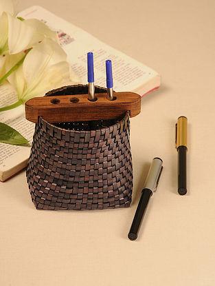 Palm Leaf Brown Pen Holder (L - 4.5in, W - 3in, H - 4.5in)