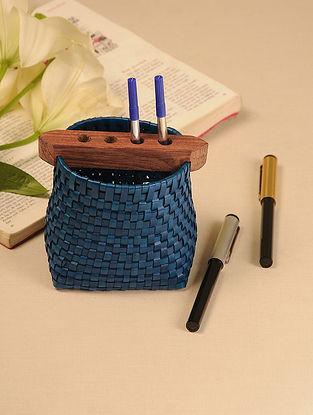Palm Leaf Dark Blue Pen Holder (L - 5in, W - 3.6in, H - 4.5in)