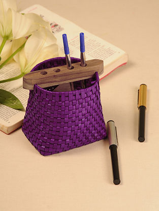 Palm Leaf Purple Pen Holder (L - 4.6in, W - 3.5in, H - 4.5in)