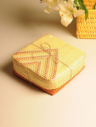 Palm Leaf Orange and Yellow Gift Box (L - 9in, W - 9in, H - 3in)