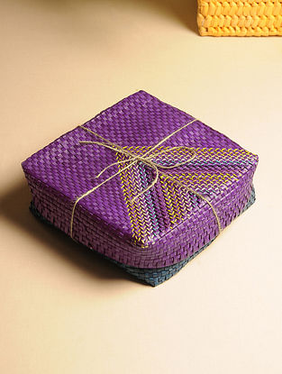 Palm Leaf Purple and Blue Gift Box (L - 9in, W - 9in, H - 3in)